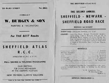 Programme: 2nd. Annual Sheffield - Newark - Sheffield Road Race :Programme covers