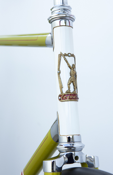 Head tube and fork crown showing unique Legnano head badge correctly rivetted