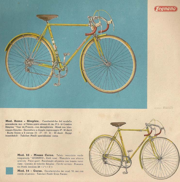 Legnano catalogue, early 60's with Mod. Roma Simplex version with Tour de France rear changer and Competition 'rod' front changer