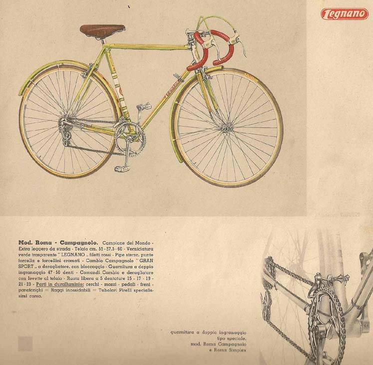 Legnano catalogue, early 60's with Mod. Roma Campagnolo version with Gran Sport rear and front ('Matchbox') changers