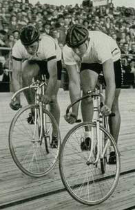 Track stands were an integral part of two-up sprint racing as riders tried to force their opponent to take the lead, sometime riders would hold this position for minutes