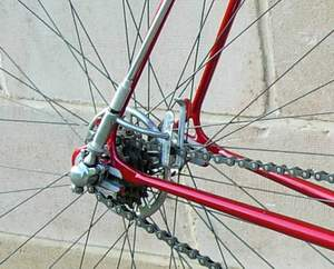 Close-up of Paris/Roubaix gear which Dave used to have low friction in the gear drive