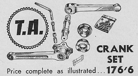 TA advert showing detail of wedge-cottered cranks