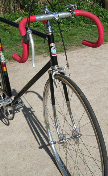 Two images showing the head lugs designed for this frame' also stop-watch and bell on bars/stem