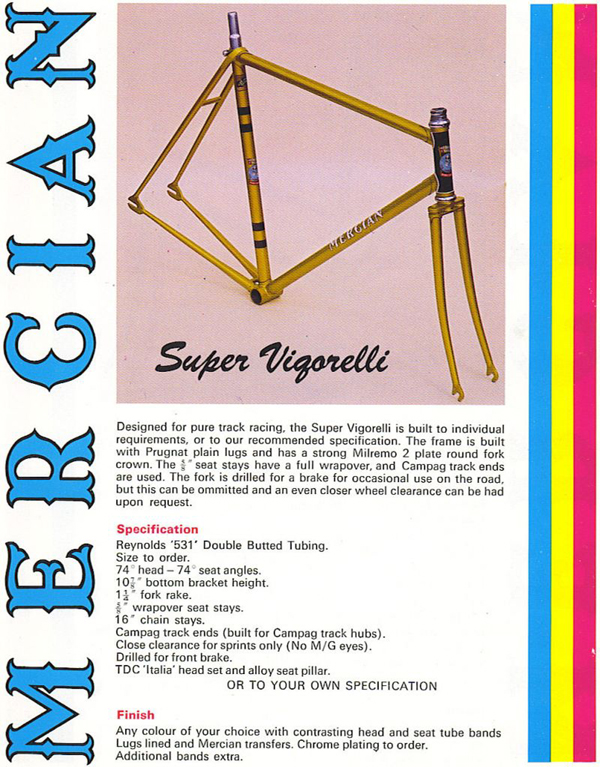 Details of Super Vigorelli in 1970's brochure