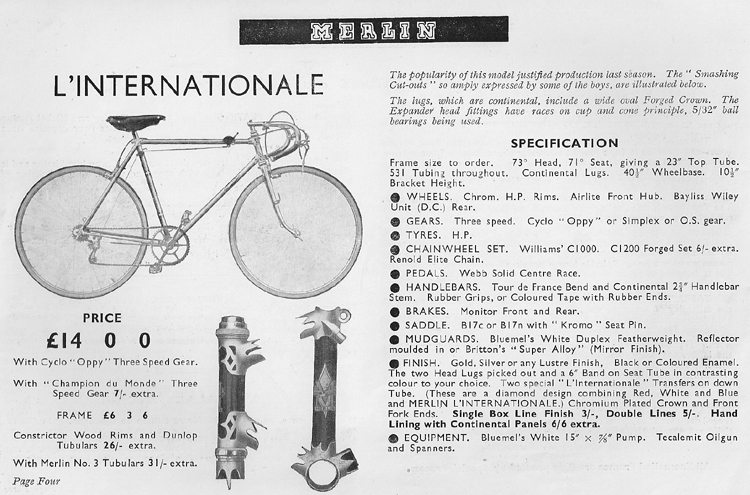 1940 Merlin catalogue (page 4) showing L'Internationale