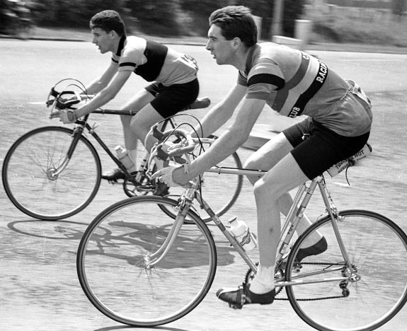 Vernon Williams on his Grandini bike which must have been an early model. The cyclist in the background is Joey James who was also a Metro member but is riding in another club's jersey in this photo!