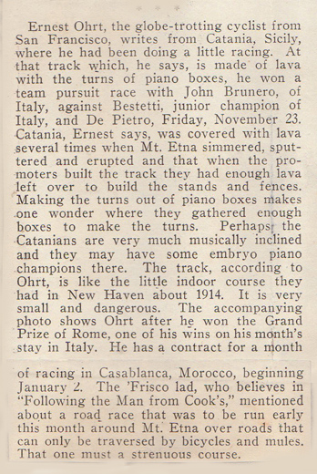 An extract from the Ohrt scrapbook but probably from the early 1920s when the Ohrts travelled from Australia to Europe