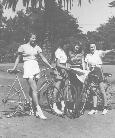 This picture, c.1938 has Constance Ohrt on the left and Denise Ohrt second from right, the other two girls are probably friends or models. This was taken for a tourist brochure promoting Golden Gate Park in San Francisco.