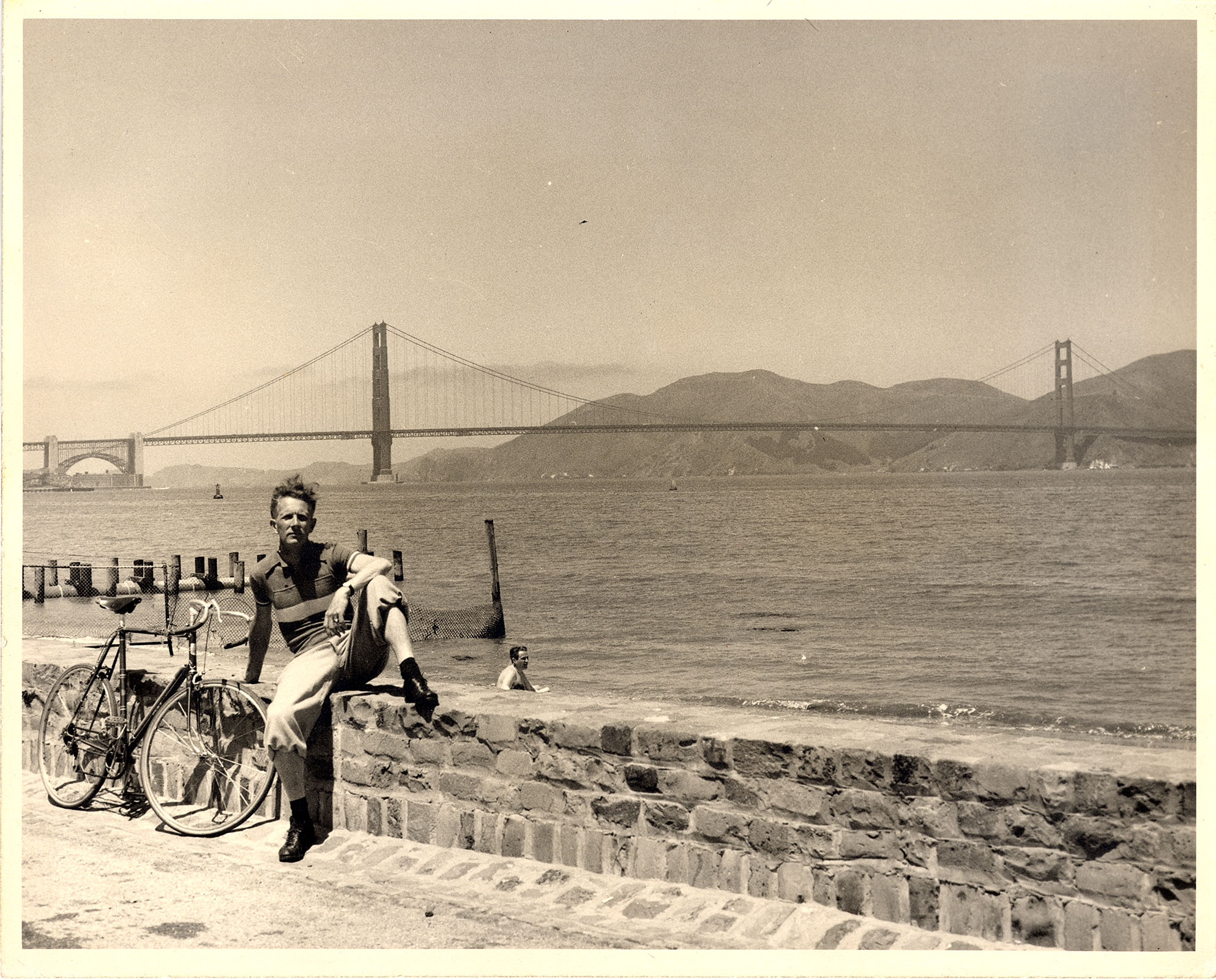 Ernie Ohrt with his road bike at San Francisco Bay - early 1960s