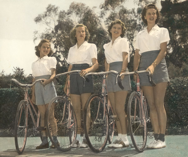 The 'girls' are (from left to right) Jacqueline Ohrt Delaney, Lorraine Ohrt O'Hanlon, Denise Ohrt Noel and my mother Constance Ohrt Hearst. C1940 All on the family Ohrt bicyles with Oscar Egg lugs.