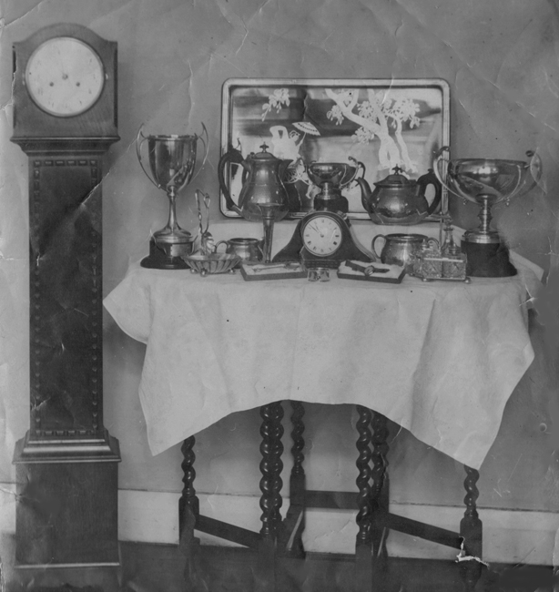 Display of some of the trophies won by Edith Palmer