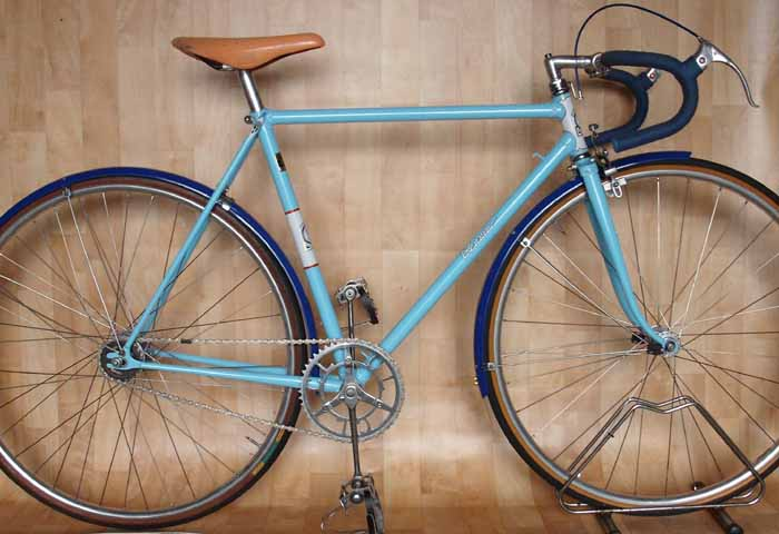 This bike would have been used for time trialling, grass track racing, club runs, & Youth Hostelling. The frame was restored by Chris Marshall.