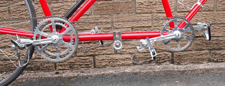 Tandem drive with two Stronglight.TA chainsets and Cyclo tensioner to take up chain slack. Some other tandems were built with an eccentric bottom bracket to take care of this.
