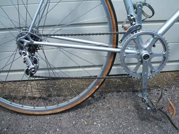 Drive chain showing the Nuovo Record rear changer changed by the braze-on down tube lever, the Stronglight 49 cranks with 36/46 TA rings and the front changer which is operated by a bar-end control