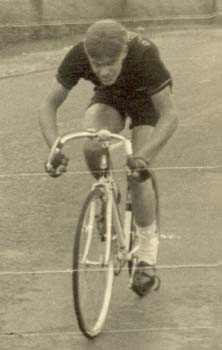 Phil riding for Blackpool RC in a foul-weather 100-mile time trial on fixed - note stop watch and obligatory bell on handlebars
