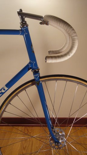 Head showing track fork rake and Professional lugs