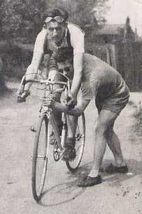 Peter Underwood on new Claud Butler in 1950. About to compete in 12-hour time trial the following day.