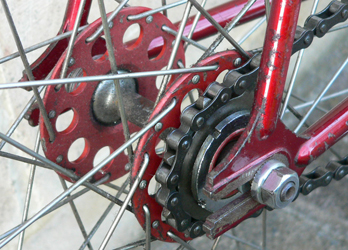 The famous red-anodised Airlite large-flange hub which was synonymous with Reg Harris