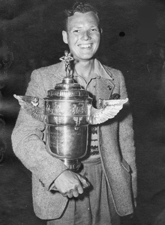 Des with the trophy for the 1949 Isle of Man international Road Race