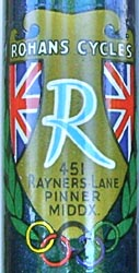Head badge with Olympic rings - many builders established in 1948 used this device