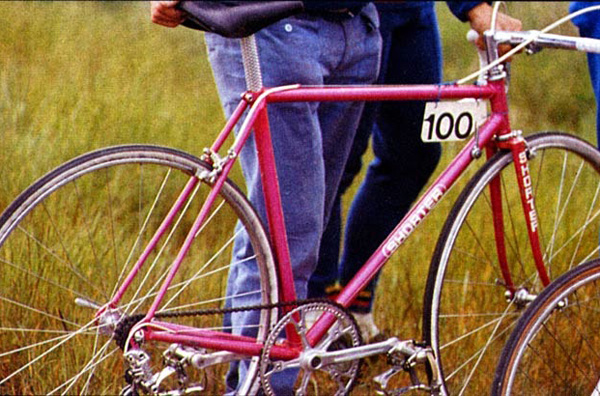 The master's original - Alf Enger's time trial machine, off with race number 100 as befits his status