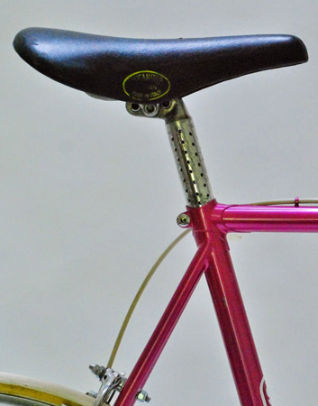 Extensive drillium on Campagnolo seat post and Weinmann brake lever