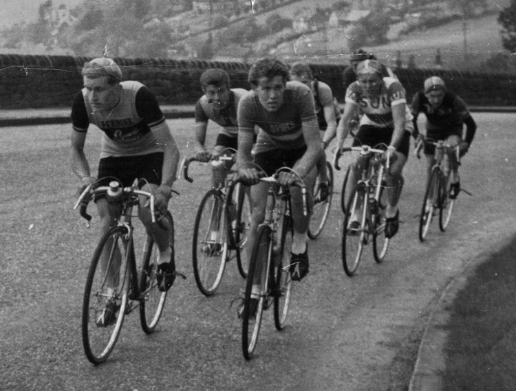 Pete Southart, in Pennine top, front left, pulling along a group with Les Gill and Frank Garvey