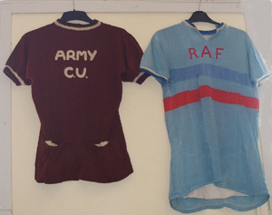 Two 'service' racing jerseys shown at Shelf Cycle Display 2011