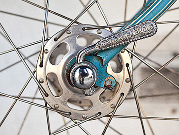Front and rear ends with Campagnolo hubs with early straight levers