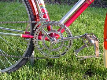 Chater Lea two-arm chainset with Chater double conversion achieved with alloy spacer and longer bolts