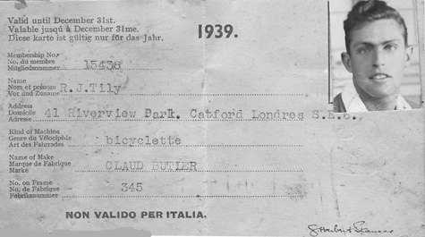 By 1939 Ronald was listed owning a Claud Butler