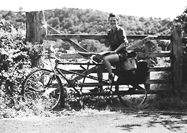 Betty on the back of their tandem