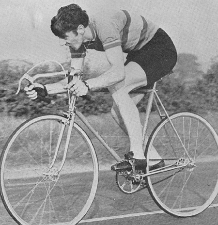 The ultimate 25-mile time triallist of his day, Alf Engers at speed on his Alan Shorter
