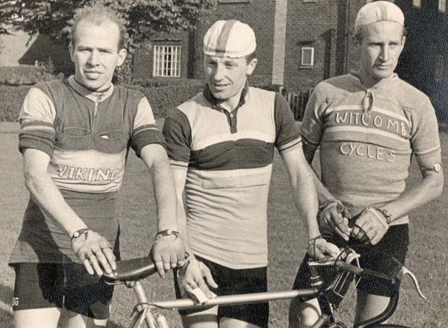 Podium winners in the 1957 Loughborough Grand Prix. L to R. Brian Haskell 2nd, Bill Baty 1st, Brian Coombes 3rd. Viking Severn Valley in the foreground of the photo
