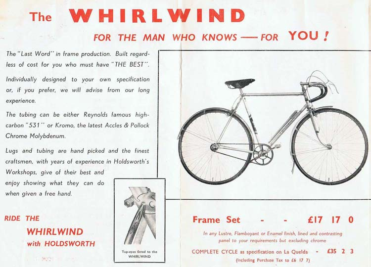 The Whirlwind as advertised by Holdsworth in their 1952 catalogue including (bottom)