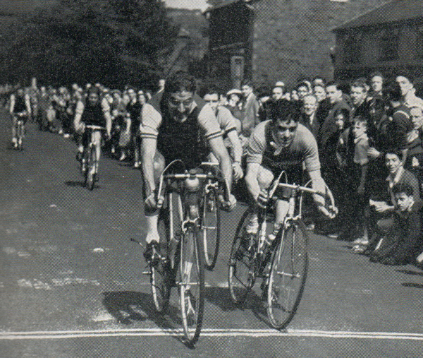 Ian Steel pips Ken Russell (Russell Cycles) to the line for second place in the 1955 Tour of the Pennines