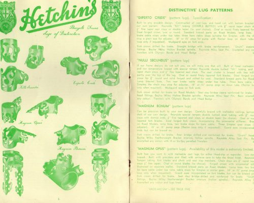 1953 catalogue: featured five models in any geometry, offering Hetchin's own elegant lug designs.